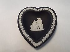 Euc Black Wedgwood heart design white figures made in england -