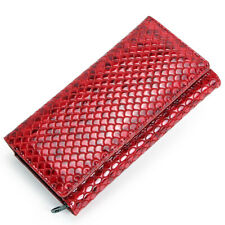 Women Genuine Leather Long Wallet Snake Pattern Clutch Card Holder Purse Handbag