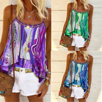 Boho Strappy Ladies Cami  Tops Casual Beach Summer Vest Blouse Womens Shirt Tank