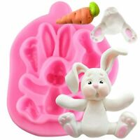 3D Rabbit Easter Bunny Silicone Kitchen Fondant Molds Cupcake Tools Sugarcraf