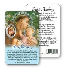 SAINT ANTHONY PRAYER LAMINATED CARD WITH RESIN DROP PICTURE 100's OF ITEMS AVAIL
