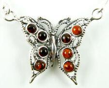 Markenlose Echte Edelstein-Halsketten & -Anhänger im Collier-Stil aus Sterlingsilber mit Bernstein
