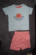 George 2 Piece Set Shorts and T Shirt 100% Cotton Orange Mix Age 0-3 Months NWOT