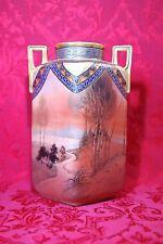 Authentic Antique Nippon Morimura M Wreath 1914-1940 Lrg Scenic Vase Gold Beaded