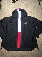 VTG Womens Tommy Hilfiger Jacket Coat Large BIG LOGO Red 90s Flag Windbreaker