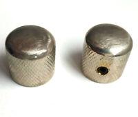 2 Boutons Dome Telecaster Metal Nickel AGED Grains fins pour pots 6mm