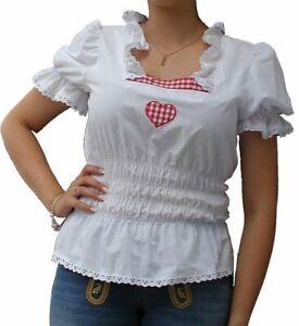Karobluse Trachtenbluse Mieder Korsage Hemdbluse Damen Weiß 40, 42, 44,46,48 NEU