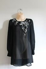 Papaya Black Sheer Sequin Embroidery Trim Party Long Blouse Top Size 10