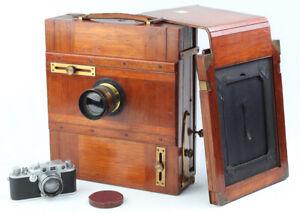 HOLZ-REISEKAMERA von 1900 (13x18cm Format) mit Euryscope Anastigmat Extra Rapid!