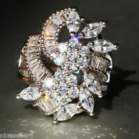 Hot White Sapphire  Birthstone 925 Silver Filled Wedding Bridal Ring Size 6-10