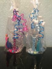 Disney Frozen Figure Wine Glasses, Set Of 2, Elsa & Anna, Sisters, Friends xx