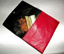 Tabakbeutel Tabaktasche Leder rot / schwarz tobacco pouch leather red /black gay