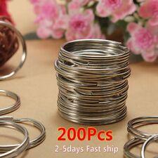 200PCS Key Rings Chains Split Ring Hoop Metal Loop Steel Accessories 25mm US