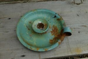 VINTAGE shabby ENAMEL WEE WILLY WINKIE CANDLE HOLDER - green distressed finish