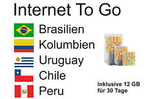 Prepaid Daten SIM Brasilien, Kolumbien, Uruguay, Chile & Peru + 12 GB 30 Tage