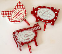 Shabby Style Hooks Hangers - Set of 3 Wooden Animals, in Red - Hen, Cow & Pig