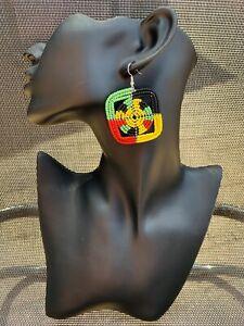 Hoop Drop Dangle Beaded Large Square Earrings Maasai Handmade African Tribal New