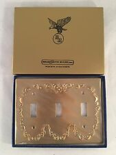 BrassSmith House - Triple Toggle Brass Switch Plate Concord Wreath CW-3B NIB!