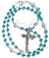 Blue Zircon DECEMBER Birthstone Catholic Rosary Beads w/Crystals from Swarovski®