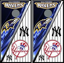 Baltimore ravens & Ny Yankees Hd 0108 cornhole board vinyl wraps stickers poster