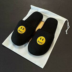 DS Drew House justin Bieber mascot slippers S/M Black ndoor/outdoor TS slides
