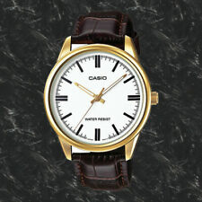 Casio Mens MTP-V005GL-7A Gold Analog Watch Brown Leather Band New