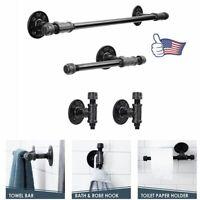 4pcs Industrial Black Iron Pipe Shelf Bracket Wall Mounted Floating Shelf Honder