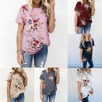 Womens Loose Blouse Ladies Short Sleeve Floral Crew Neck T-Shirt Tops Plus