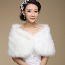 Women's Plush Faux Wool Fur Bridal Wedding Shawl Stole Wrap Shrug Cape Scarf