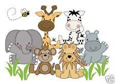 Jungle Animals Wall Art Mural Decal Baby Girl Boy Nursery Kids Room Zebra Decor