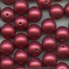 100751 ** 15 perles  RONDES en acrylyque VIEUX ROSE SATINE 12mm