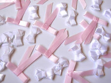 25 SATIN WHITE BOWS 20MM & 25 BABY PINK BELT BOW WITH TAILS 31MM X 40MM