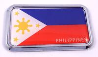 "Philippine Philippine rectanguglar Chrome Emblem Car Decal Sticker 3"" x 1.75"""