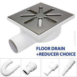 FLOOR DRAIN Bathroom Wet Room Shower With TRAP 150 x 150mm /Ø 50 + REDUCER 40 32