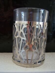 New, Bella Lua glass with chrome abstract design tooth brush holder