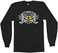 Threadrock Men's Ghana Lion Crest Flag Long Sleeve T-shirt Ghanaian Shield