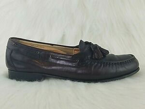 FOOTJOY Mens Burgundy Leather Moc Toe Tassel Slip On Dress Loafers Shoes 9.5 N