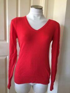 Ladies Red Esprit V Neck Jumper Size S