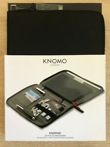 Knomo Shoreditch Knomad Zip Folio Organiser for iPad Air, Smartphones - Black