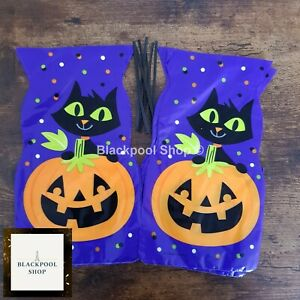 10 Halloween BLACK CAT and PUMPKIN CELLO Sweet Gift loot Bags TRICK OR TREAT.