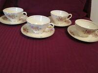 Homer Laughlin Georgian Eggshell  Coffee Cup & Saucer L41N5 set of 4 Deco Design