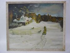 VINTAGE RUSSIAN IMPRESSIONIST RUSSIAN WINTER LANDSCAPE OIL PAINTING