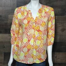 Crown & Ivy Yellow Orange Printed V-Neck Blouse 3/4 Sleeves Rayon Size Small