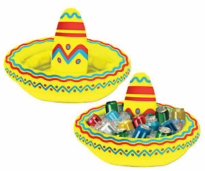Sombrero Mexican Western Beach Party Costume Inflatable Beer Drinks Ice Cooler