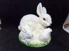 Vintage Snow White Easter Bunny Family Textured Snow Baby Style Finish
