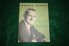 FRANK SINATRA - DORSEY - SHAW - ETC SIGNED 1941 HOTEL ASTOR MENU NYC AUTOGRAPHED