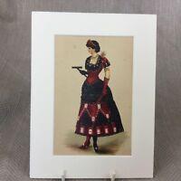 1890 Antico Vittoriano Stampa Moda Costume Monte Carlo Decorato Abito Sfera