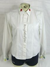 Roughrider Western Shirt Fitted Blouse Womens Sz M Embroidered Roses White Top