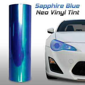 "12""x60"" Chameleon Neo Dark Blue Headlight Fog Tail Light Vinyl Tint Film (c)"