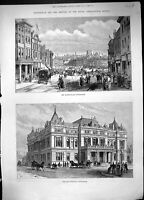 Old 1888 Market Place Nottingham Townhall Royal Agricultural Society Victorian